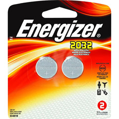 Energizer 2032BP-2 - 3V Lithium Button Cell Battery Retail Pack - 2-Pack