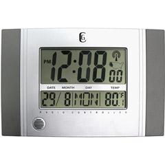 Geneva Decor Clocks 4625G - Silver Wall Clock with Radio Control