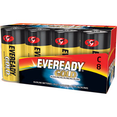 Eveready A93-8 - C Cell Alkaline Battery Bulk Pack - 8-Pack