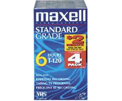 Maxell T-120 STD/4 - Standard-Grade VHS Videocassette 4 Pack