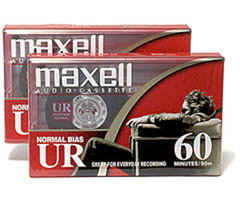 Maxell UR-60/2 - Normal Bias Audiocassette - 60 Minutes, 2 Pack