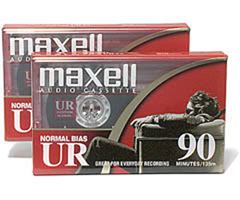 Maxell UR-90/2 - Normal Bias Audiocassette - 90 Minutes, 2 Pack
