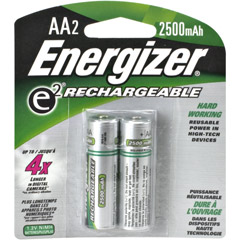 Energizer AANH2 ENERGIZER - AA Rechargeable NiMH Battery Retail Pack, 2500mAh - 2 Pack