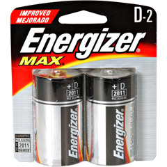 Energizer D2 ENERGIZER - D Cell Alkaline Battery Retail Pack - 2-Pack
