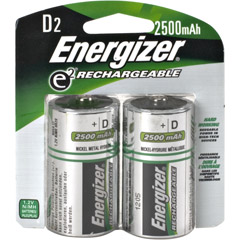 Energizer DNH2 ENERGIZER - D Cell Rechargeable NiMH Battery Retail Pack, 2500mAh - 2 Pack