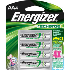Energizer AANH4 ENERGIZER - AA Rechargeable NiMH Battery Retail Pack, 2450mAh - 4 Pack